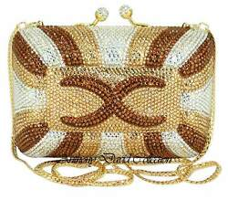 Anthony David Gold Bronze Clear Crystal Clutch Evening Bag w Swarovski Crystals