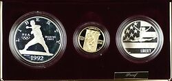 1992 Us Mint Olympic Commemorative 3 Coin Silver And Gold Proof Set As Issued Dgh