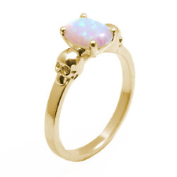 Skull Ring 1.4ct Oval Unicorn Tear Opal Engagement Ring 9ct Gold