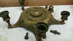 VERY HEAVY CAST METAL ANTIQUE HANGING LIGHT CHANDILIER PARTS
