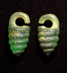 Antique Greco-roman Rare Glass Earring From Middle East 5th Century Ad