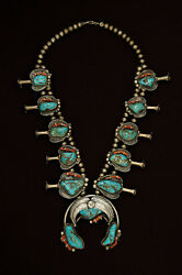 Native Art Ethnic Silver Navajo Squash Blossom Turquoise And Coral Necklace
