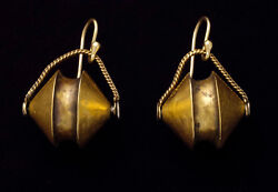 Rare Antique Ethnic 22k Gold Earrings From Tamil Nadu South India 19th Century