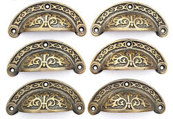 6 Antique Vtg. Style Victorian Brass Apothecary Bin Pulls Handles 3cntr A5