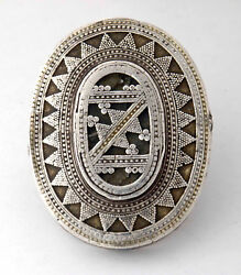 Huge Old Kazakh Ethnic Ring In Silver And Glass, Central Asia 1910 Approx