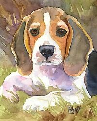 Beagle Art Print from Painting Beagle Gifts Poster Picture Home Decor 8x10