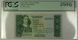 1982-85 No Date South Africa 10 Rand Bank Note Scwpm 120c Pcgs Gem 67 Ppq