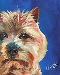 Cairn Terrier Dog 8x10 Art PRINT Signed by Artist Ron Krajewski Painting