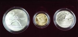 1992 Us Mint Olympic Commemorative 3 Coin Silver And Gold Unc Set As Issued