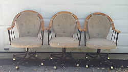 3 Vintage Mid Century Douglas Furniture Oak And Metal Swivel Caster Dining Chair
