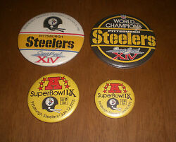 4 Steelers Super Bowl Pin Back Buttons - 2 Superbowl Ix And 2 Superbowl Xiv