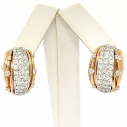 18k Rose And White Gold 2.62ctw Pave Set Fine Diamond Omega Domed Cuff Earrings