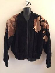 Men's Black Suede W/leather World Jacket Size 46/48 Bigandtall By Optimo's Brazil