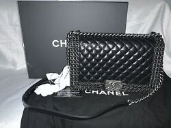 CHANEL Black Leather New Medium Triple Quilted Woven Intertwined Chains Boy CC