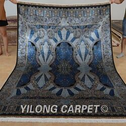 Yilong 6'x9' Oriental Handmade Persian Silk Rug Home Decor Blue Carpet 0718