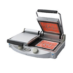 Cadco Cpg-20fc Double Clamshell Grill With Clear Glass-ceramic Grill Surfaces