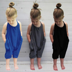 Toddler Kids Baby Girls Summer Strap Romper Jumpsuit Harem Pants Outfits Pockets $12.13