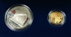 1987 U.s. Mint Constitution 1 Silver + 5 Gold Proof Coin Set- W/box And Coa