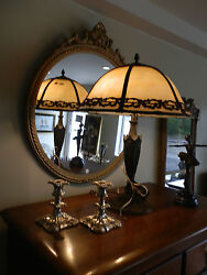 Gorgeous Rare Antique Bell Shaped Victorian Slag Glass Lamp W/amazing Detail