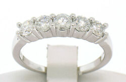 14k White Gold Shared Prong Classic 0.90ctw Large Round Diamond Band Ring
