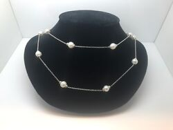 14k White Gold And Genuine Pearl Chain Worn Single Or Doubled