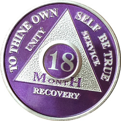 18 Month Purple Silver Plated Aa Medallion Sobriety Chip Alcoholics Anonymous