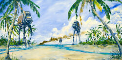 At-act Palm Beach Scarif Battle Star Wars Rogue One Artwork Giclandeacutee On Canvas