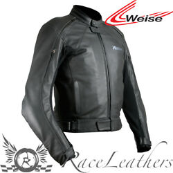 WEISE HYDRA WATERPROOF LEATHER MOTORCYCLE SPORTS JACKET WITH BACK PROTECTOR