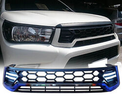 Front Daytime Drl Titanium Grille Grill Led Fit Toyota Hilux Revo M70 M80 15-18