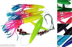Lot Of 6 Daisy Chains Tuna Mahi Bird + Shell Squids Offshore Tackle Mixed Colors