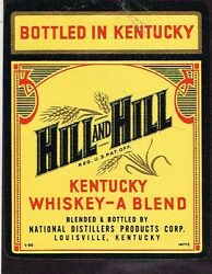 1950s Kentucky Louisville Hill And Hill Blended Bourbon Whiskey Label