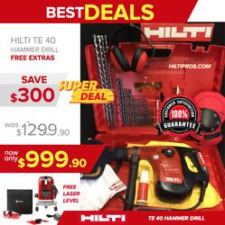 Hilti Te 40 Avr Hammer Drill, Laser Level, Bits, A Lot Of Extras, Quick Ship