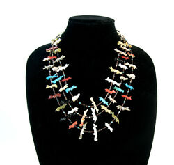 Antique Native American American Fetish 3 Strand 21.5 Necklace Turquoise Coral
