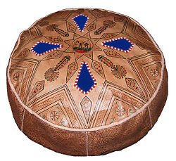 Ottoman Footstool Poof Moroccan Hand Made Leather Poufs Hassock X-lg Natural