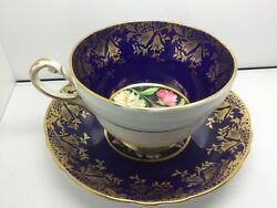 Paragon By Appointment Royal Blue And Gold Teacup And Saucer Set Stunning
