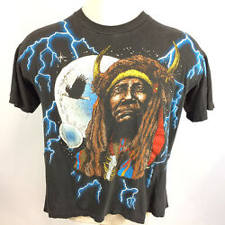 Vtg Paper Thin Indian Lightning Motorcycle Trucker T Shirt Distressed All Over
