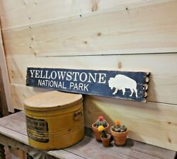 Yellowstone National Park Distressed Wood Sign/buffalo/bison/rustic/cabin/lodge