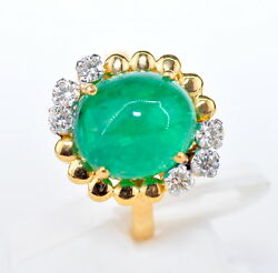 Certified Gia Gg Stunning 18kt 7.66 Ct Natural Colombian Emerald Diamond Ring