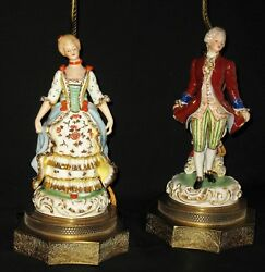 Antique Hp Porcelain Court Figural Table Vanity Lamps W/o Shades Electric Brass