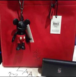 COACH-Disney Mickey TotePhone WalletDoll FOB! SOLD OUT! NWT!