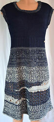 CHANEL BLUEGRAY KNIT CUP SLEEVES COTTON SCOOP NECK DRESS SZ 42  # P43320K04500