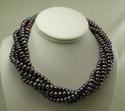Freshwater Black Button Pearl 5 Strand Necklace With Sterling Silver Clasp