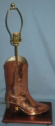 Vintage Copper Boot Mold Mounted As Table Lamp No Shade Western Log Timber Ranch