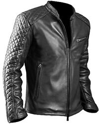 Menand039s Classic Diamond Cafe Racer Black Genuine Leather Jacket By Gearswears New