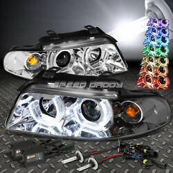 CHROME RGB COLOR RING HALO PROJECTOR HEADLIGHT+6000K SLIM HID FOR 96-01 B5 A4