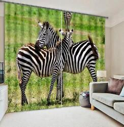 3d Two Zebra 50 Blockout Photo Curtain Printing Curtains Drapes Fabric Window Ca