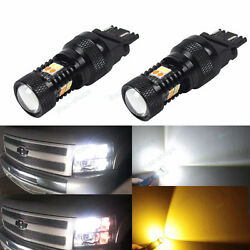 4Pcs Switchback WhiteAmber Front Parking Signal Light Bulbs For 07-13 Silverado