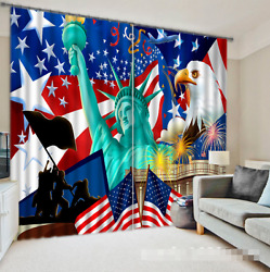 3d Flag Statue 4blockout Photo Curtain Printing Curtains Drapes Fabric Window Ca