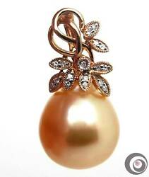 18k Gold Enhancer W/ Diamond And Enormous 16.4x15.6mm Golden South Sea Pearl P2356
