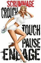 Rugby Rules Scrum T Shirt Scrummage Crouch Touch Pause Engage Pin Up Girl Gift